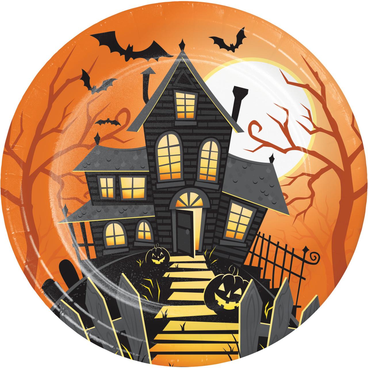 "Halloween Haunted House Owl 8 Ct 7/"" Dessert Cake Plates"