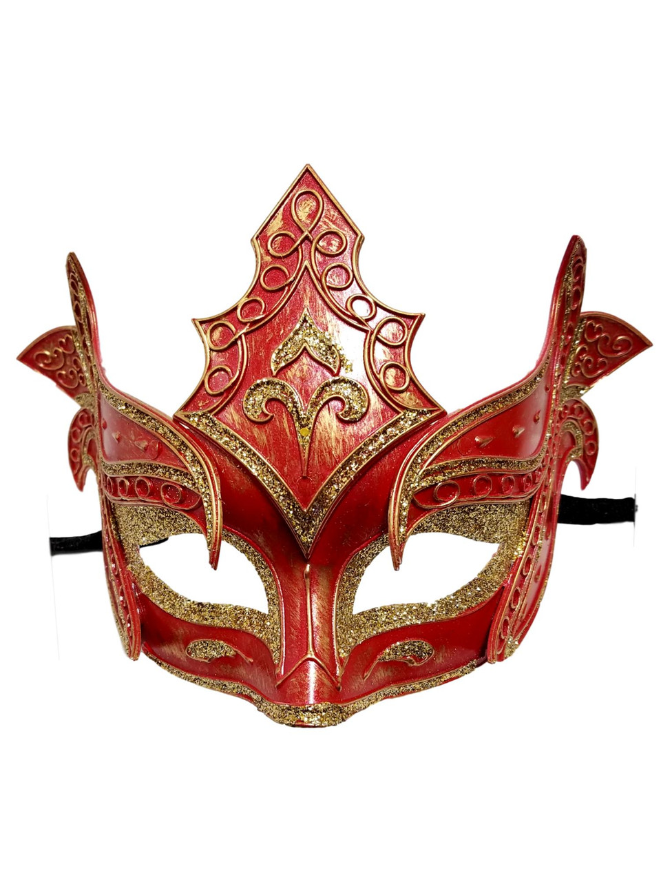 Red /& Gold Feathered Designer Masquerade Mask