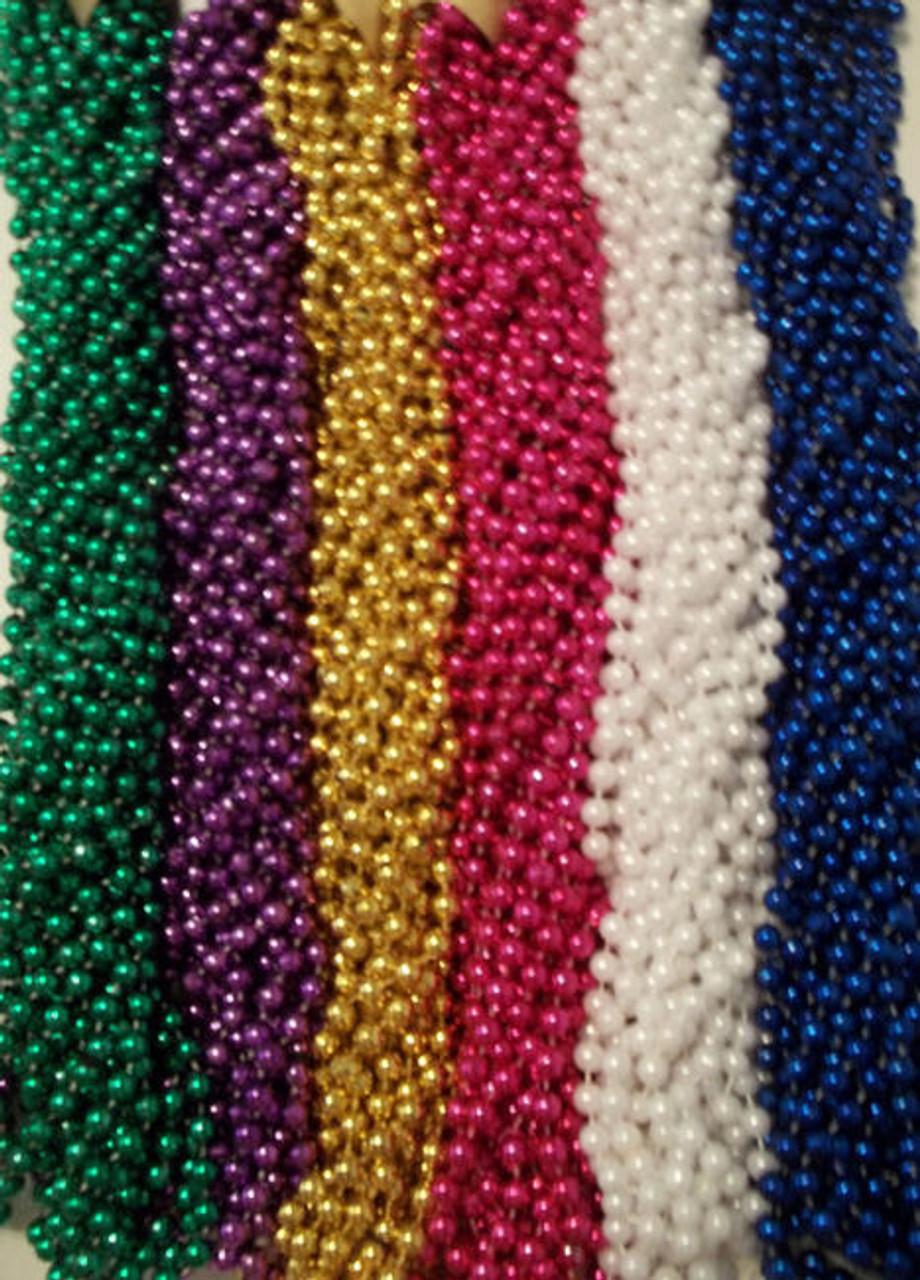 144 Hot Pink Mardi Gras Beads Party Favors Necklaces Metallic 12 Dozen Lot