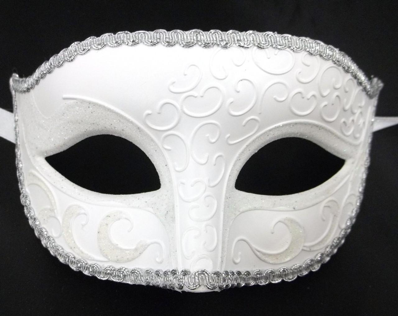 White Venetian Men Mardi Gras Masquerade Prom Costume Mask