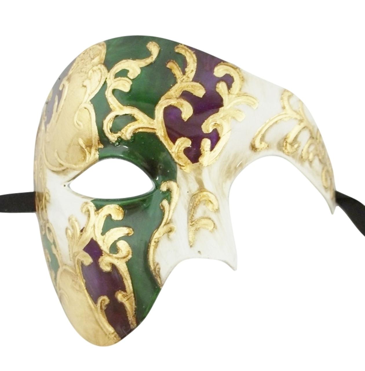 Men/'s Phantom Music Green Silver Large Mardi Gras Masquerade Elegance Mask