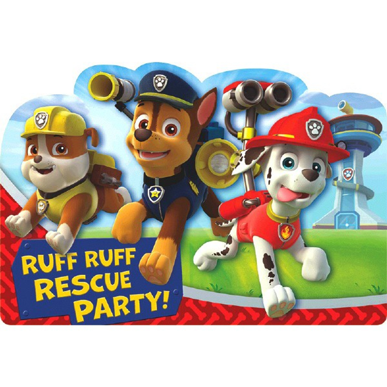 Paw Patrol 8 Postcard Invitations Birthday Party Rubble Chase Marshall