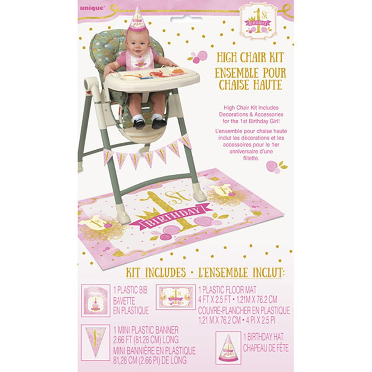 1st Birthday Pink Gold Girls High Chair Decorating Kit Bib Hat Banner