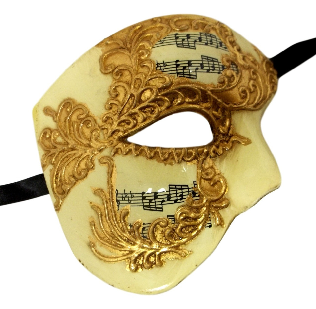 PHANTOM VENETIAN MASQUERADE MARDI GRAS COSTUME HALF MASK MUSICAL NOTE ADULT