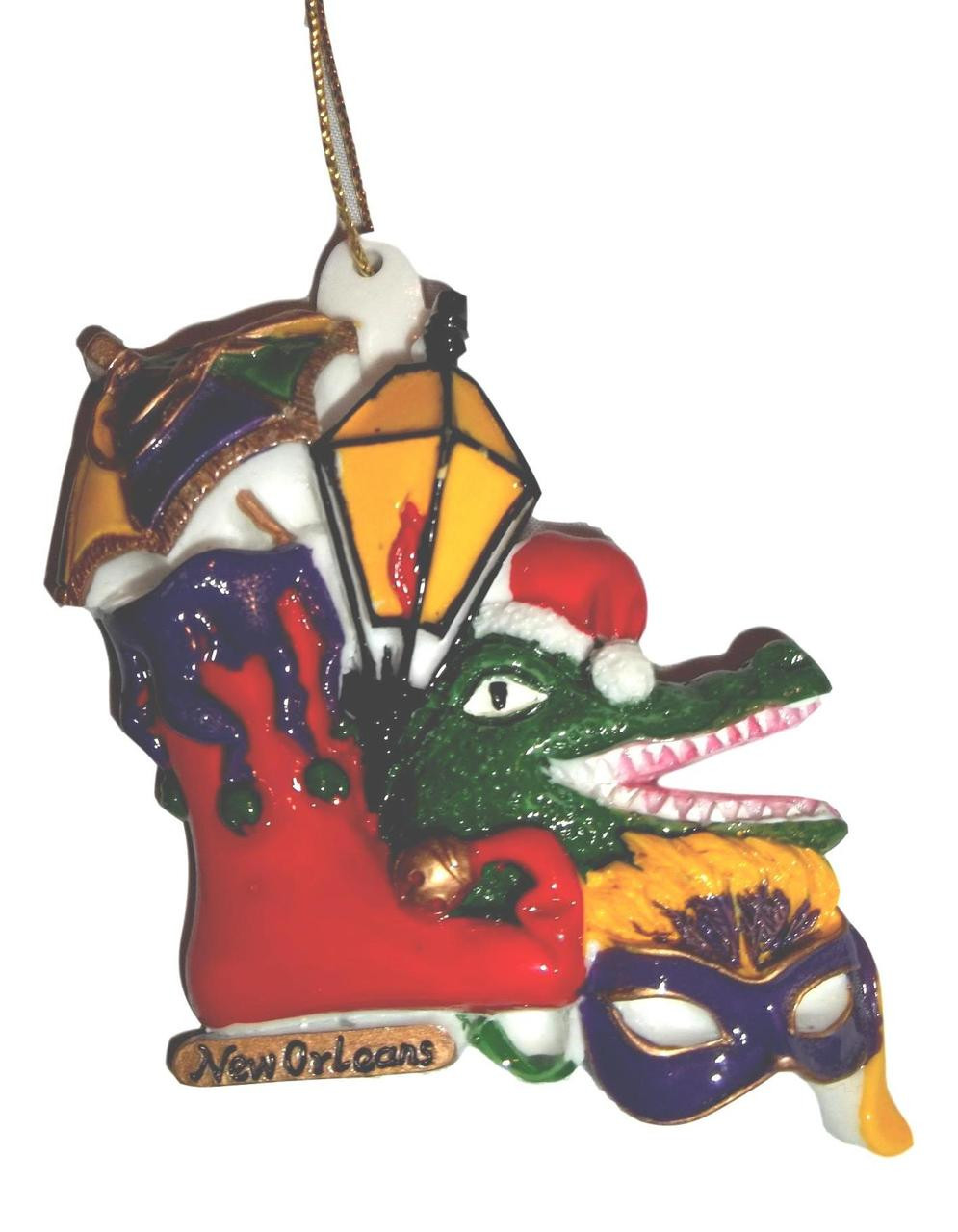 New Orleans Christmas Ornaments.Stocking Gator Mask Parasol New Orleans Christmas Ornament Party Favors