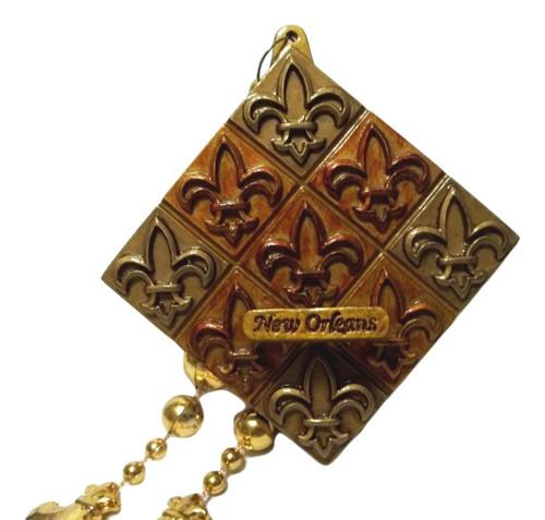 Fleur de Lis Bronze Tiles Mardi Gras Bead Necklace New Orleans Party Favor