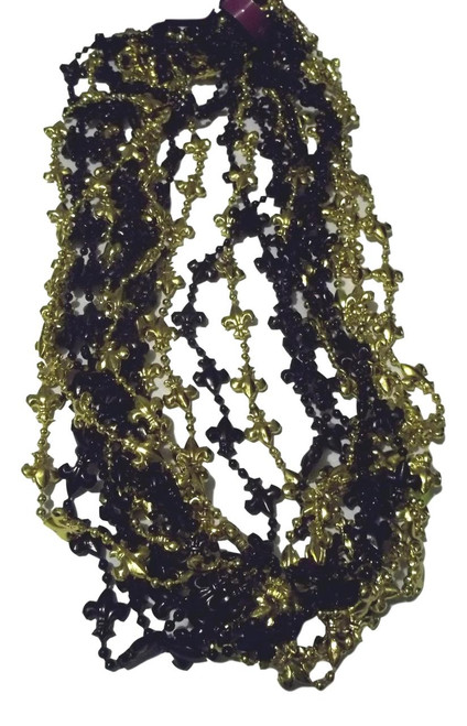12 Fleur de Lis Black and Gold Mardi Gras Bead Necklaces Saints New Orleans Tailgate Favors