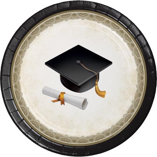 "Black Gold Cap and Gown 8 Ct Dessert Plates  7"" Graduation Diploma"