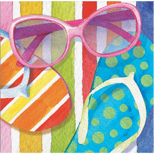 Beach Bliss 16 Ct Beverge Napkins Summer Pool Party Sunglasses Flip Flops