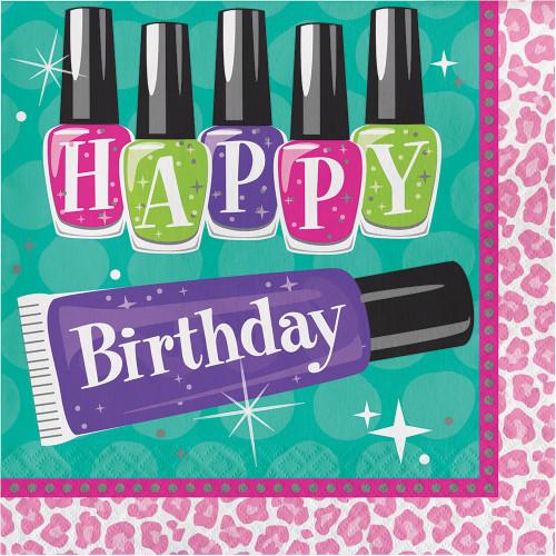 "Sparkle Spa ""Happy Birthday""  16 Ct Lunch Luncheon Napkins"