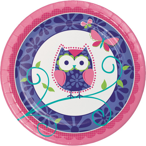 """Owl Pal 9"""" Lunch Dinner 8 Ct Plates Birthday Party"""