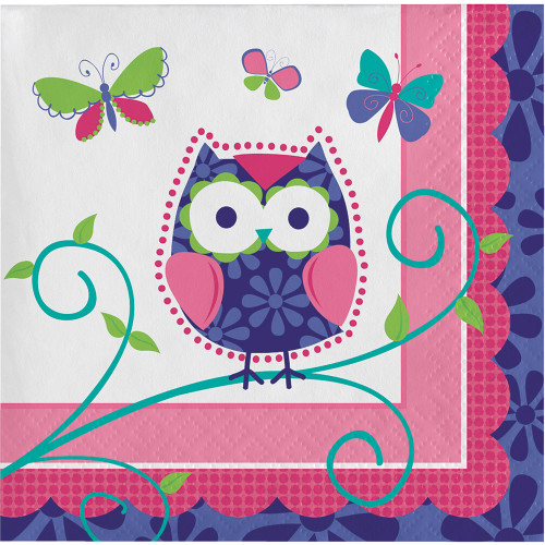 Owl Pal 16 Ct Beverage Napkins Birthday Party