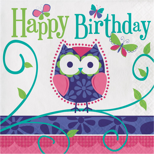 """Owl Pal 16 Ct Luncheon 3 Ply Napkins """"Happy Birthday"""" Party"""