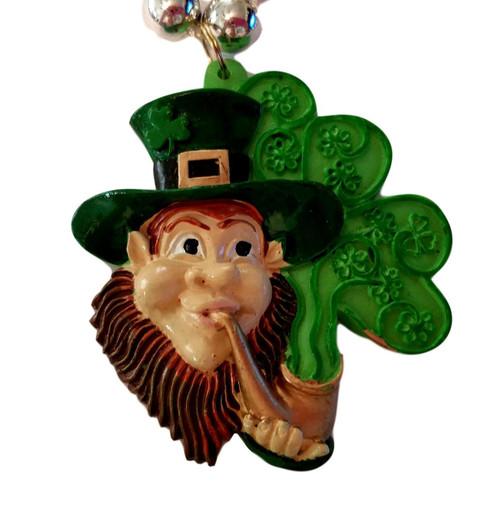 Leprechaun, Pipe Shamrock St Patrick's Day Mardi Gras Bead Necklace
