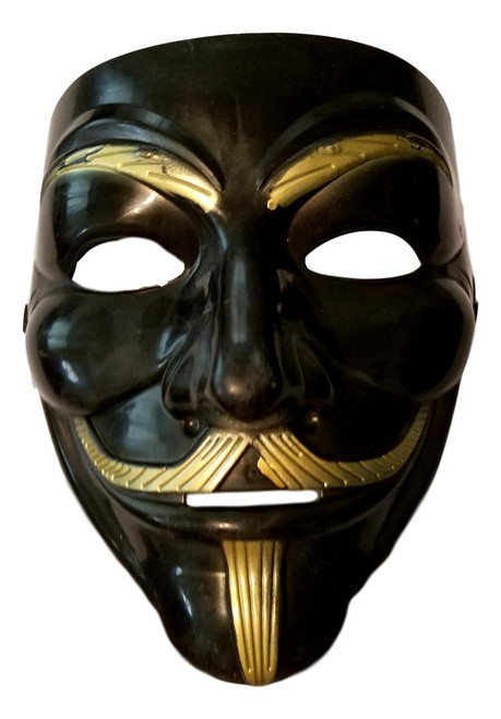 Black Gold Guy Fawkes Anonymous V for Vendetta Halloween Costume Mask