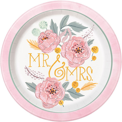 """Painted Floral 8 Ct 9"""" Dinner Lunch Plates Wedding Bridal Shower"""