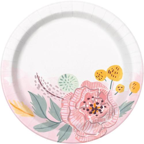 "Painted Floral 8 Ct 7"" Dessert Cake Plates Wedding Bridal Shower"