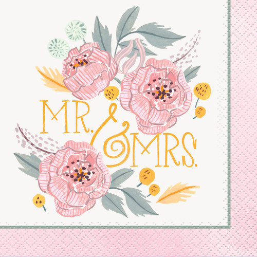 Painted Floral 16 Ct Beverage Napkins Wedding Bridal Shower