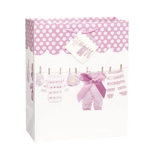 Baby Bow Pink Clothesline Girl Shower Gift Bag Large