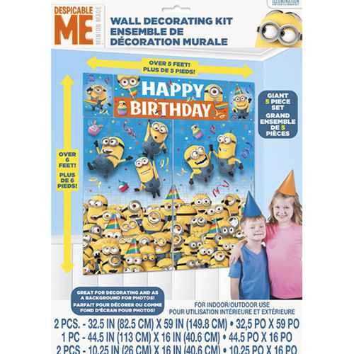 Despicable Me 5 Pc Wall Decor Kit Decorating Birthday Party
