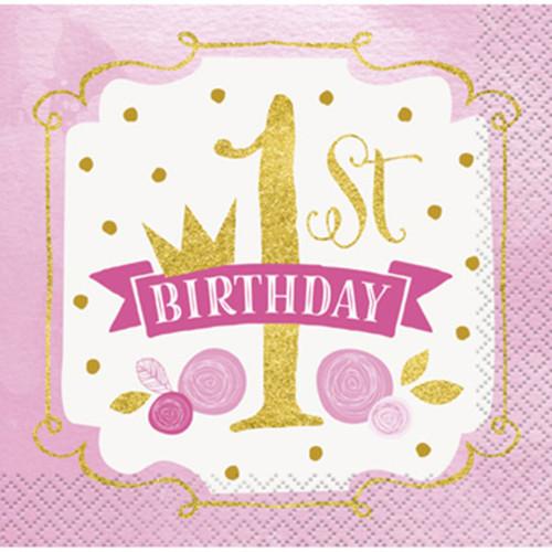 1st Birthday Pink Gold Girls 16 Ct Beverage Napkins