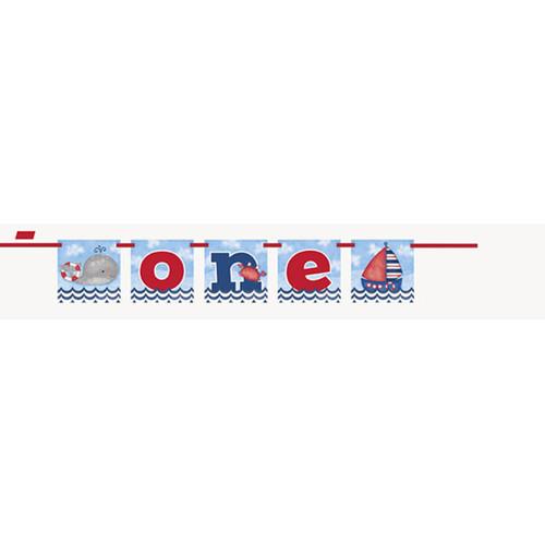 "Nautical 1st Birthday Blue Block Banner ""One"" Whale Sailboat"