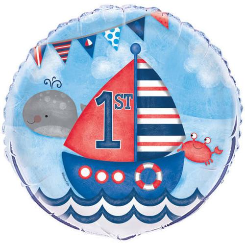 "Nautical 1st Birthday 1 Ct 18"" Foil Balloon"