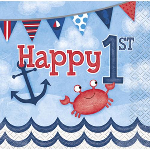 Nautical 1st Birthday 16 Ct Beverage Napkins