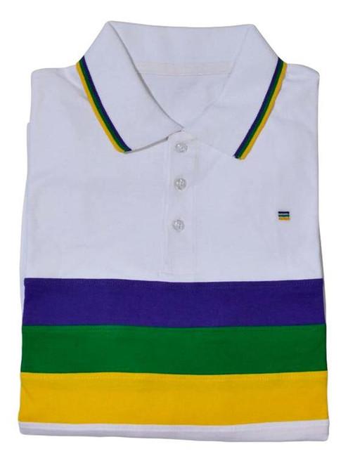 Adult Medium Mardi Gras Rugby White Purple Green Yellow Knit SS Shirt
