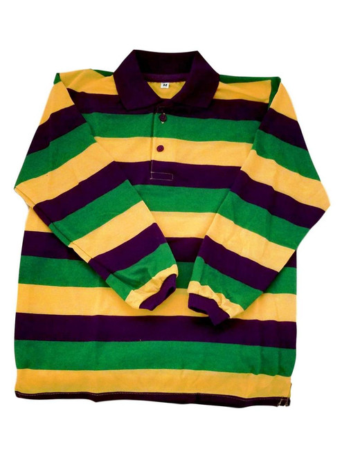 Child Large Mardi Gras Stripe Purple Green Yellow Long Sleeve Polo Shirt