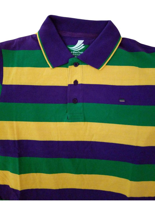 Adult Large Mardi Gras Rugby Stripe Purple Green Yellow Knit SS Shirt