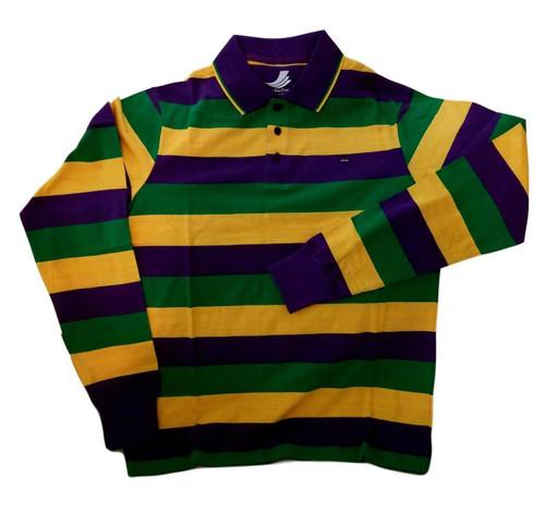 Adult Large Mardi Gras Rugby Stripe Purple Green Yellow Long Slv Shirt