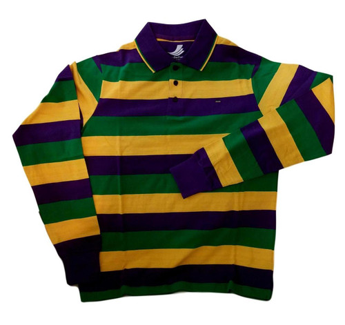 Adult 2X XXL Mardi Gras Rugby Stripe Purple Green Yellow Long Slv Shirt