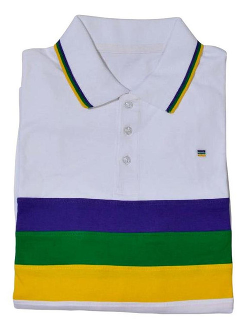 Adult Large Mardi Gras Rugby White Purple Green Yellow Knit SS Shirt