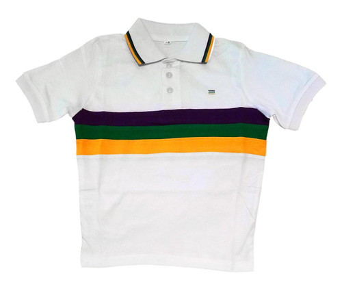 Child Medium Mardi Gras Rugby White Purple Green Yellow Knit SS Shirt