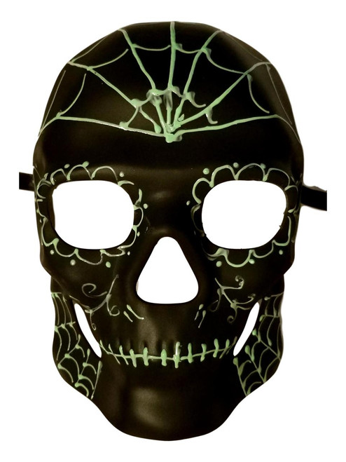 Black Green Glow in Dark Spiderweb Halloween Skull Masquerade Mask