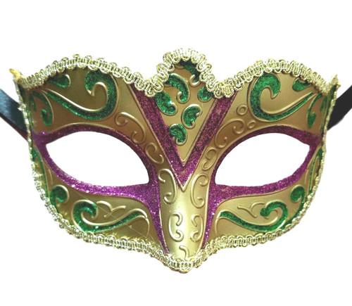 Gold Purple Green Venetian Fantasy Small Masquerade Mardi Gras Mask