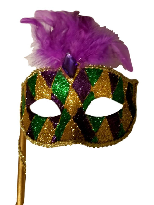 Gold Purple Green Marquis Venetian Masquerade Mardi Gras Stick Mask