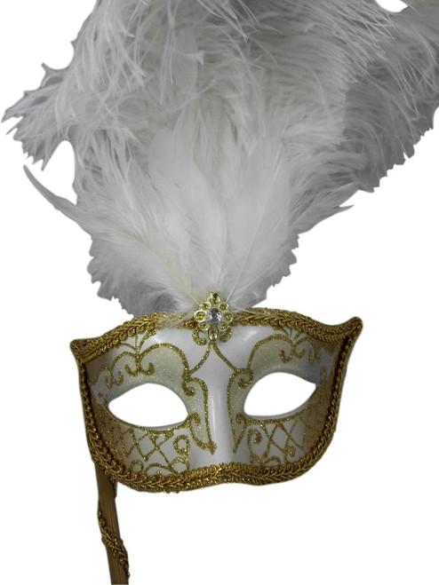 White Gold Fluted Stick Venetian Masquerade Mardi Gras Feather Mask