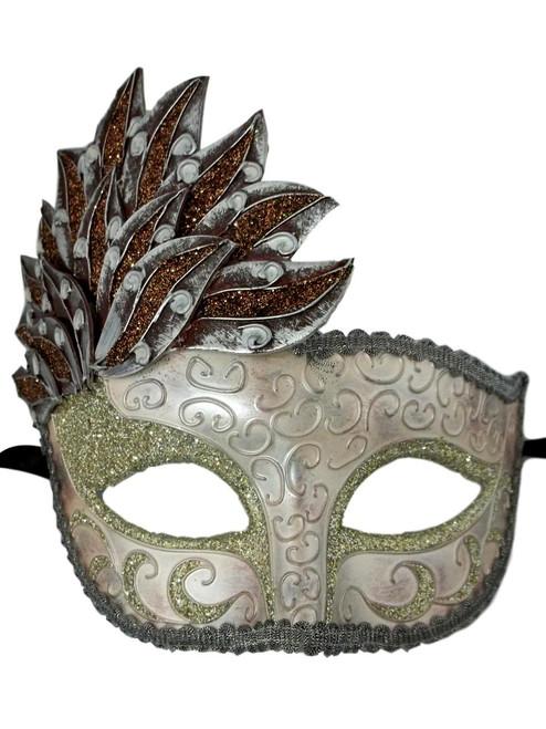 Pink Gray Venetian Mask Masquerade Mardi Gras Party Leaf Cascade