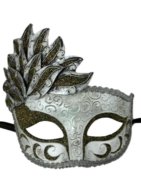 Black Silver Venetian Mask Masquerade Mardi Gras Party Leaf Cascade
