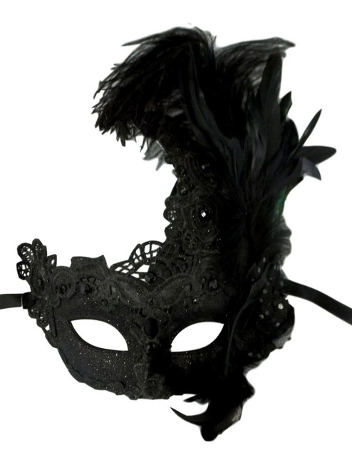 Black Lace Feather Venetian Masquerade Costume Party Mask