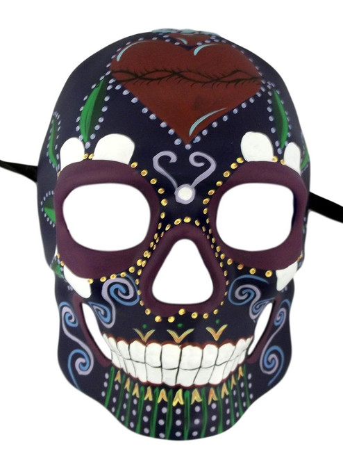 Purple Day of the Dead Halloween Skull Masquerade Mask