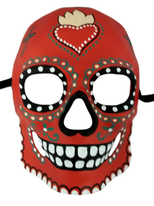 Red Day of the Dead Halloween Skull Masquerade Mask
