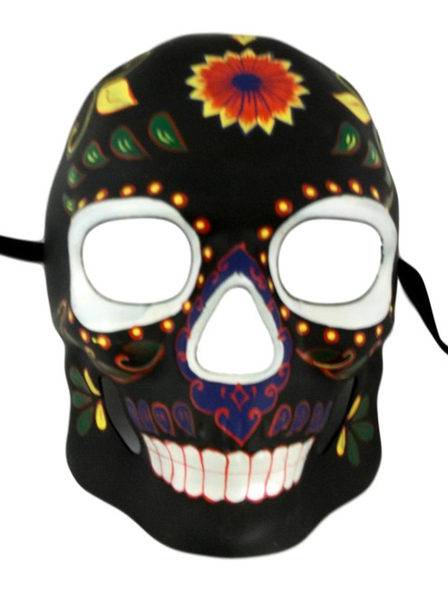 Black Day of the Dead Halloween Skull Masquerade Mask