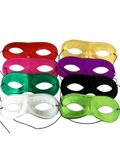 8 Pc Mardi Gras Mask Assortment Set Red Pink Green Purple Silver Gold