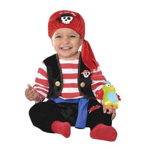 Baby Buccaneer  With Parrot Infant Boys 0-6 Months Pirate Costume