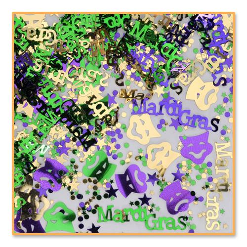 Mardi Gras Party Confetti .5 oz package Metallic Foil