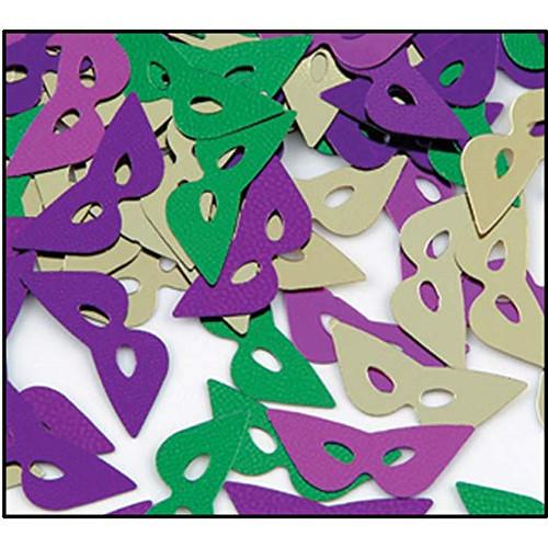 Fanci Fetti Mardi Gras Masks Confetti .5 oz package Metallic Foil