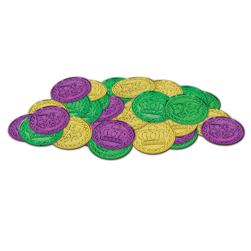 Mardi Gras 100 Plastic Crown Coins Doubloons Pirate